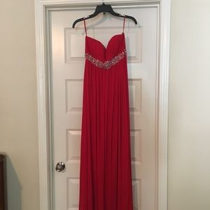 Maxi Red Formal Dress with Sequin Belt